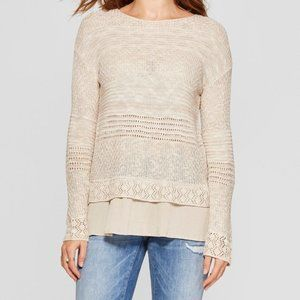 Knox Rose Boho Long Sleeve Mixed Stitch Sweater